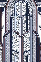 1930 PANORAMIQUE PARAVENT BLEU / CUIVRE